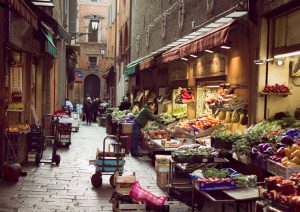 shopping in old market, visit Quadrilatero, Bologna Italy